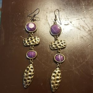 Jewelry - Duster antique brass purple earring